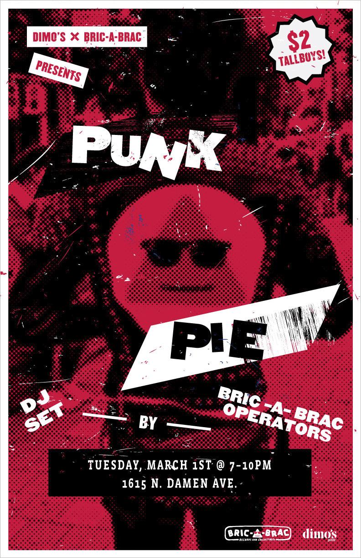 Dimos Pizza X Bric A Brac Punk Pie Event Poster